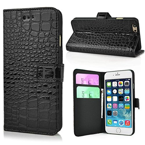 "Apple iPhone 6 4.7"" Zoll Wallet Case Alligator Pattern Etui Lack Hülle Schwarz"