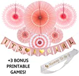 Baby Shower Decorations For Girls - Pink and Gold It's a Girl Banner, Mum to Be Sash, Hanging Decorations and 3 BONUS Printable Games!