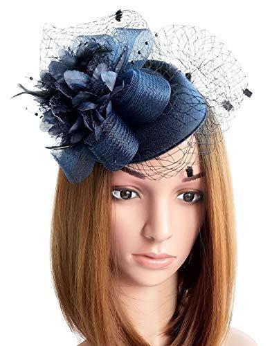Coolwife Fascinator Hats Pillbox Hat British Bowler Hat Flower Veil Wedding Hat Tea Party Hat (Navy -