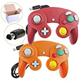 Bowink 2 Packs Classic Wired Gamepad Controllers for Wii Game Cube Gamecube console(Red and Orange)