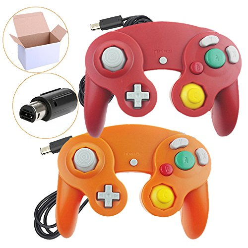 Bowink 2 Packs NGC Wired Controllers For Wii Gamecube (Red and Orange)
