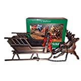HomeTrends Brass Reindeer & Sleigh With Copper Cast Finish No. 38-1099