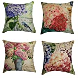 NING Sofa Decorative Throw Pillow Case Set of 4 Cotton Linen Cushion Cover 18X18 Inches (Flower)
