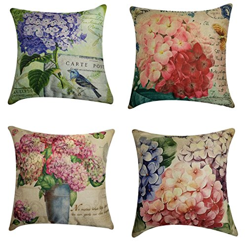 NING Sofa Decorative Throw Pillow Case Set of 4 Cotton Linen Cushion Cover 18X18 Inches (Flower) by NING