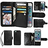 Case for iPhone 5C, xhorizon Premium Leather Folio Case [Wallet Function] [Magnetic Detachable] Fashion Wristlet Purse Soft Flip Multiple Card Slots Case Cover ZA5 for iPhone 5C - Black