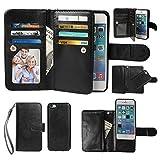 iPhone 5C Case, xhorizon TM Premium Leather Folio Case [Wallet Function] [Magnetic Detachable] Fashion Wristlet Purse Soft Flip Multiple Card Slots Case Cover ZA5 for iPhone 5C - Black