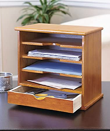 Amazoncom 4Slot Natural Wood Mail Organizer Mail Sorters