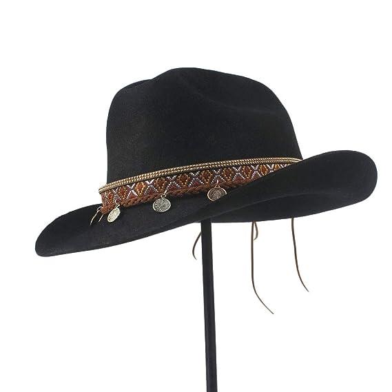 Wool Vintage Style Unisex Wool Blend Wide Stiff Brim Western Cowboy Hats  Tassel  Amazon.co.uk  Clothing 3278bd8730c