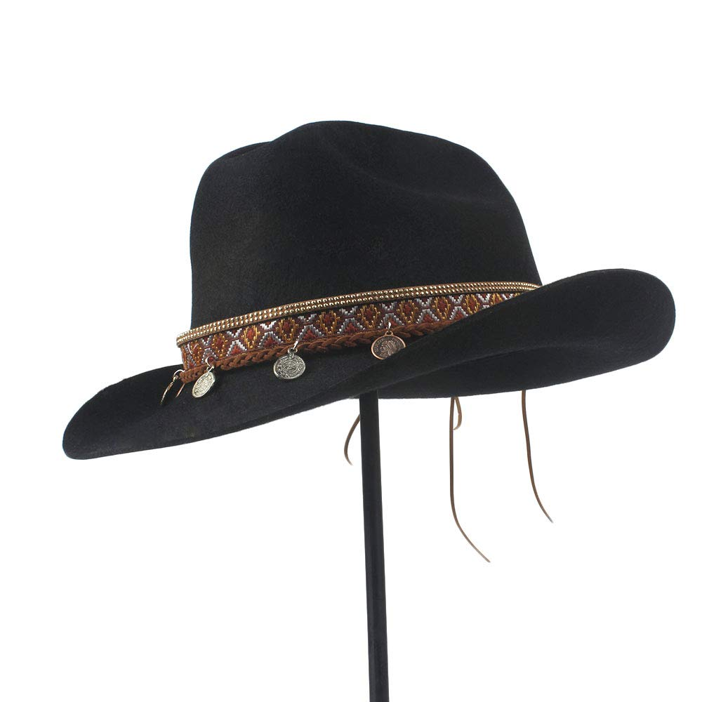 LL Women's 100% Wool Vintage Style Wool Blend Wide Stiff Brim Western Cowboy Hats Tassel Bohemia Ribbon Cowgirl Caps (Color : Black, Size : 56-59cm) by LL (Image #2)