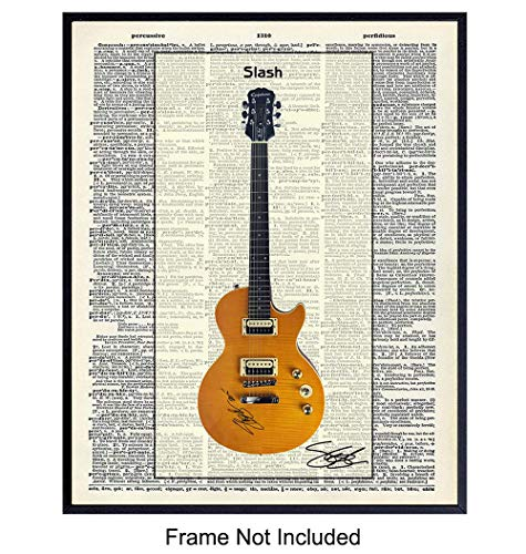 Slash Guitar Dictionary Art Print - Vintage Upcycled Wall Art Poster - Chic Home Decor for Man Cave, Office, Den, Game, Family Room - Gift for Guns n Roses Heavy Metal Music Fans, 8x10 Photo Unframed