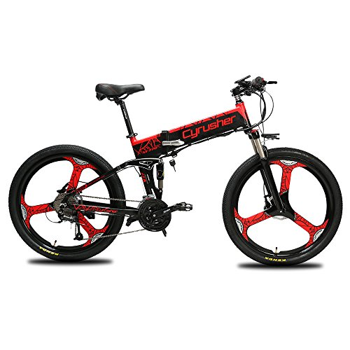 Cyrusher XF770 Folding Electric Bike 500W/250W Mountain Bicycle Full Suspension 48V 10AH Hidden Battery Shimano 27 Speeds with Hydraulic Disc Brake, 26inch Tire