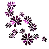 AMOFINY Home Decor Flower Mirror Decorationation Home Room Art 3D DIY Wall Stickers