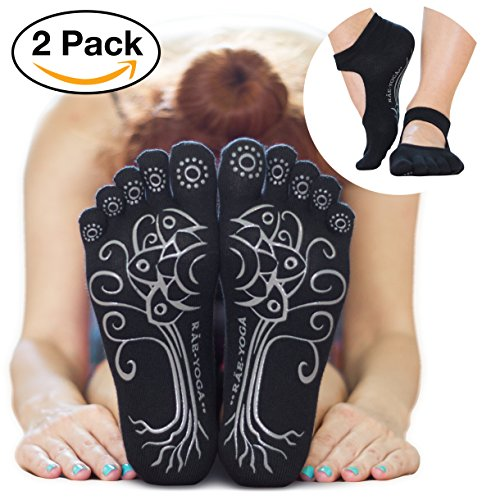2 Pairs ♥ RAE YOGA Barre Pilates Non Skid Bella Full Toe Grip Socks ♥ Bamboo Barefoot Feel (S-M, Black)