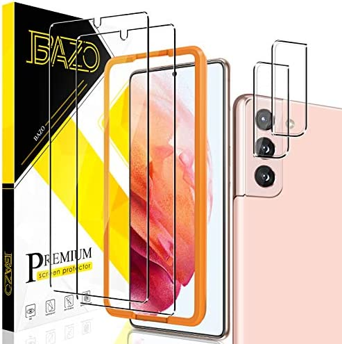[2+2 Pack] BAZO Tempered Glass Screen Protector and Camera Lens Protector Compatible for Samsung galaxy S21 5G(6.2 inch)[Easy Installation Frame] [Bubble Free] [Anti-Scratch] HD Clarity 9H Hardness Film
