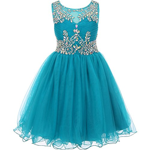 (CrunchyCucumber Big Girls Unique Design AB Stone Bodice Open Back Tulle Wired Skirt Flower Girl Dress Teal - Size)
