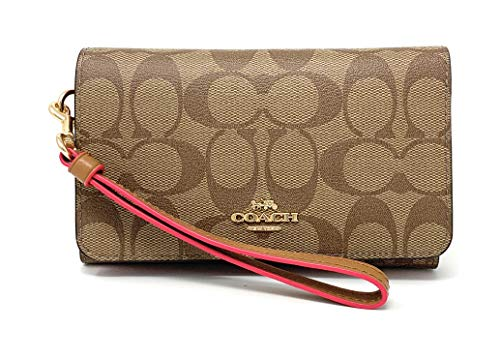(Coach Flap Phone Wallet In Signature Canvas (KHAKI/NEON PINK/LIGHT)