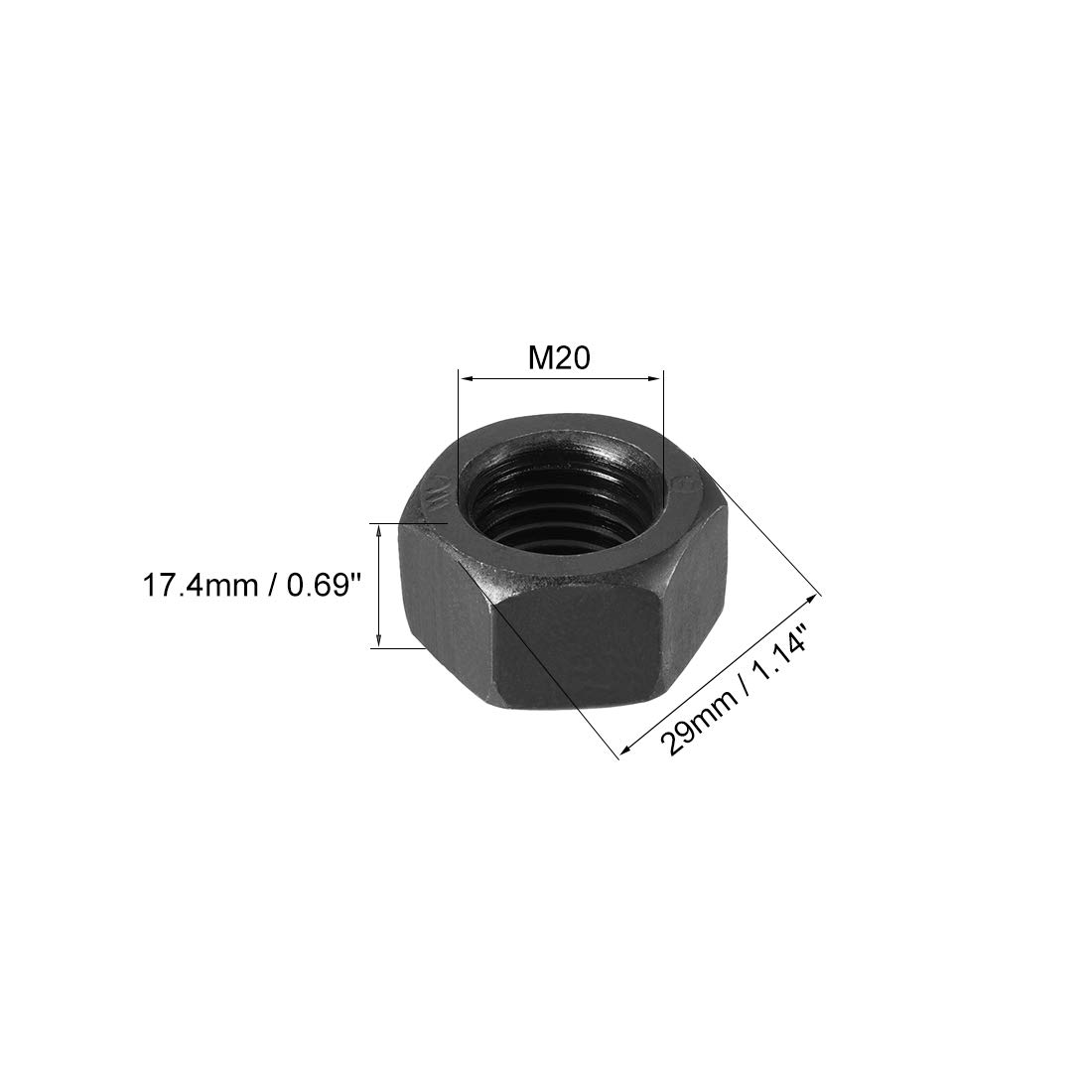 Pack of 50 uxcell Hex Nuts Carbon Steel M5x0.8mm Metric Coarse Thread Hexagon Nut Silver Tone