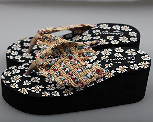de Tacón de de Alto Pequeñas 37 Mujer nine Mujer Sandalias Zapatos Zapatillas Beige Thirty Verano Donyyyy y Zapatillas de Flores wRgnXz