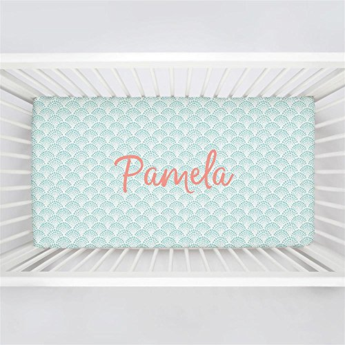 Carousel Designs Personalized Custom Seafoam Aqua Scallop Dot Crib Sheet Pamela Idea - Organic 100% Cotton Fitted Crib Sheet - Made in The USA