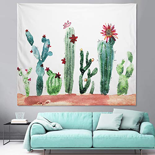 Cactus tapestry, Wall tapestry, Room Bedroom Art Home Wall hanging Decor, Polyester and Short plush The fabric, Hd 3D Digital Printing Technology, Plant Tiny Cacti Pattern Tapestries White 51X59inches ()