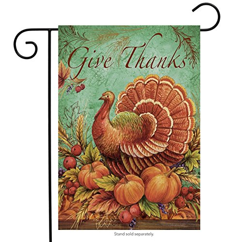 Brownrio Turkey Give Thanks Holiday Garden Flag Thanksgiving
