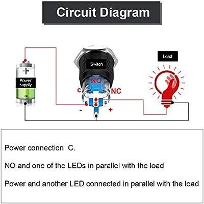 White auto 12V 2A 12mm LED Light Momentary Interruttore a pulsante On//Off Interruttore a pulsante fermo Interruttore a pulsante a LED