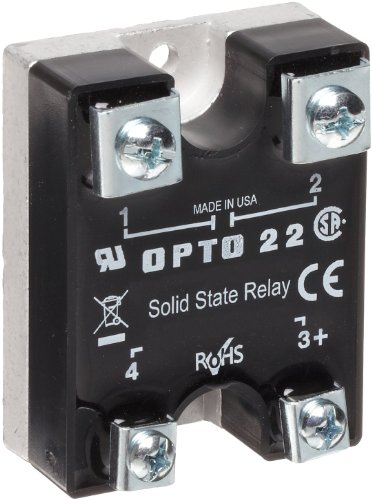 Opto 22 120D3 DC Control Solid State Relay, 120 VAC, 3 Amp, 4000 V Optical Isolation, 1/2 Cycle Maximum Turn-On/Off Time, 25-65 Hz Operating Frequency ()