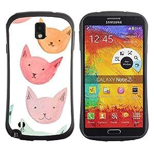 Hypernova Slim Fit Dual Barniz Protector Caso Case Funda Para Samsung Note 3 [ Blue Cat Faces]