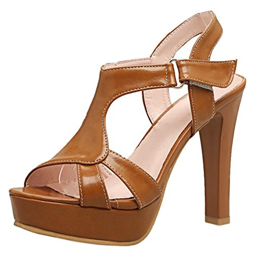 Shoes High Elegant Block Dress Women Party Heel TAOFFEN Platform Yellow Sandals UqCIxw4Hzn