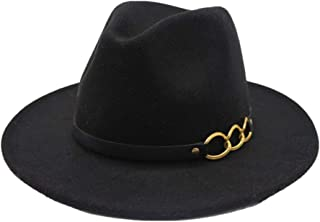HYF Top Hat Jazz Cappelli Wool Leather Bandwidth Metal Chain Fedora Top Jazz Hat Cappello Europeo Americano (Colore : Navy Blue, Dimensione : 56-58cm)