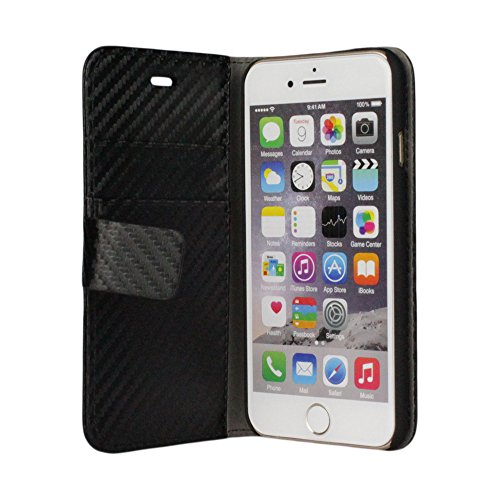 Apple iPhone 6 / 6S Carbon Tasche Book Style Schutzhülle Flip Case Schwarz von cTRON21