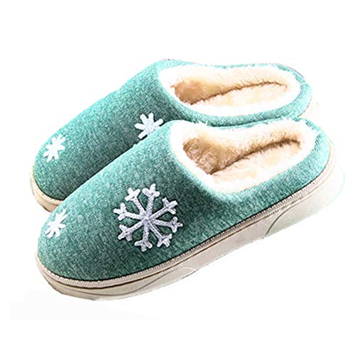 Warm Knitted Slippers Home Luobote Shoes Women Closed Plush Fashion Snow Cozy Toe Green xv0FTqOF5w