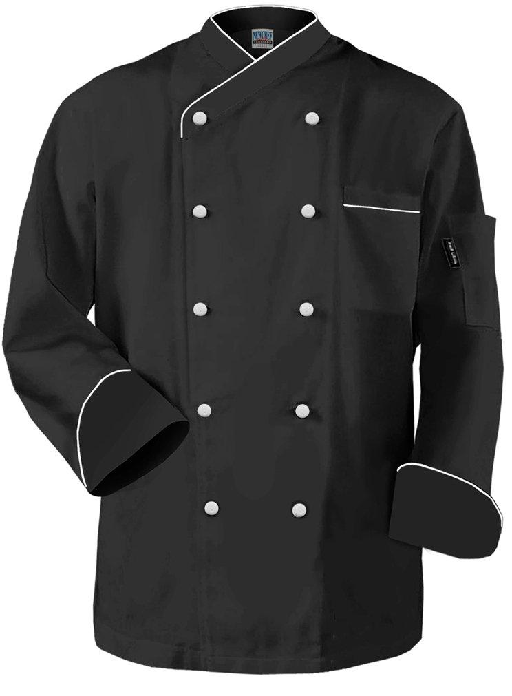 Newchef Fashion Frenchy Chef Coat Black White Trim XL Black by Newchef Fashion