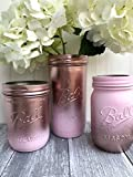 Metallic Rose Gold and Pink Painted Mason Jars, Rustic Centerpiece for Table, Set of 3