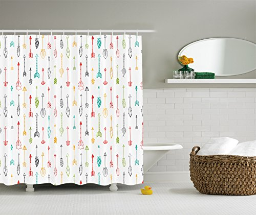 Ambesonne Arrow Decor Collection  Color Pen Doodle Style Fun Art with  Arrows Picture  Polyester Fabric Bathroom Shower Curtain Set with Hooks   Coral Yellow  Shower Curtains for Kids  Amazon com. Yellow And Teal Shower Curtain. Home Design Ideas
