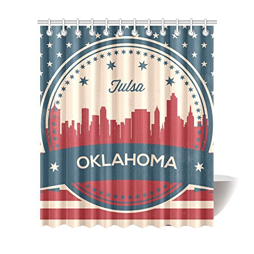 Vintage Oklahoma State Tulsa Skyline Shower Curtains 72 x 84 inches Polyester Fabric Bath Curtain with Hooks