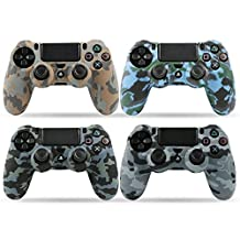 LZETC Silicone PS4 Controller Skin with Matching Thumb Grips, Set of 4 (Camo)