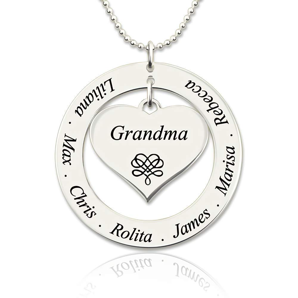 10aca1d37 Amazon.com: DXYAN Personalised Engraved Name Necklace Grandma/Mom Heart  Pendant Necklace with Kids Names: Jewelry