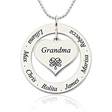 fbe5957ce Amazon.com: DXYAN Personalised Engraved Name Necklace Grandma/Mom Heart  Pendant Necklace with Kids Names: Jewelry