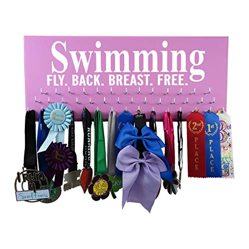 (RunningontheWall Swimming Ribbon Hanger, Swimming Gifts for Teens Swimming Fly. Back. Breast. Free. Swimmer Medal Hanger, Swimming Award Ribbon Organizer )