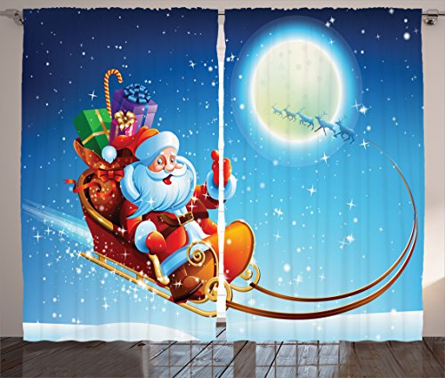 - Ambesonne Christmas Decorations Collection, Santa Claus on Dreamy Magical Starry Sky Full Moon Father Christmas Cartoon Picture, Living Room Bedroom Curtain 2 Panels Set, 108 X 84 Inches, Multi