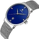 Men Casual Date Quartz Wrist Watches Gent Waterproof Sports Watch Elite Ultra Thin Clock WR-8018 (Blue)