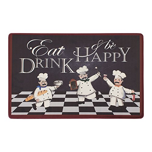 Chef Gear Eat Drink and Be Happy Kitchen Mat, 20 x 32, -
