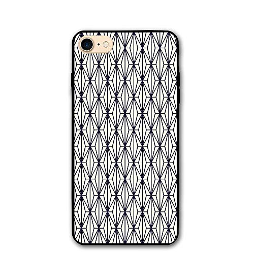 Haixia iPhone 7/8 Cover Case 4.7 Inch Geometric Abstract Vintage Bamboo Tree with Diamond Pattern Nature Concept East Asia Decorative Dark Blue Cream