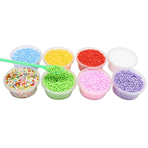 8Packs(Approx 9600pcs) Foam Balls for Slime Colorful Styrofoam Balls Beads Mini 0.08inch-0.15inch (Mixed Colors 1)