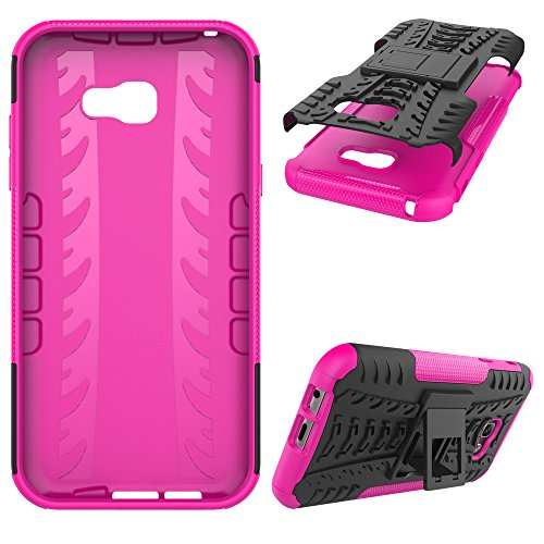 "Galaxy A7 (2017) Case, SsHhUu Tough Heavy Duty Shock Proof Defender Cover Dual Layer Armor Combo Protective Case Cover for Samsung Galaxy A7 (2017) (5.7"") Pink"