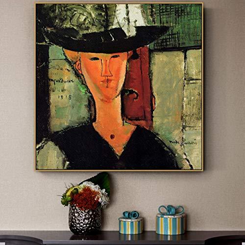 Tpqoaa Cuadro sobre Lienzo Amedeo Modigliani antiguo maestro famoso artista Madame Pompadour 40x40cm De la pared La impresion de la imagen en la lona Fotos de la Obra para la
