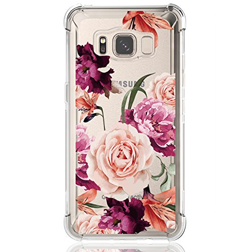 Galaxy S8 Active Case,Samsung Galaxy S8 Active Case with Flower,LUOLNH Slim Shockproof Clear Floral Pattern Soft Flexible TPU Back Cover for Samsung Galaxy S8 Active(Purple)