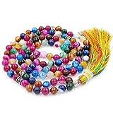 Mala Beads Necklace, Stripe Agate Mala Bracelet, Buddhist Prayer Mecklace, Knotted Necklace
