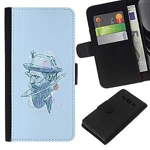 LECELL--Cuero de la tarjeta la carpeta del tirón Smartphone Slots Protección Holder For Samsung Galaxy A3 -- Sombrero del inconformista --